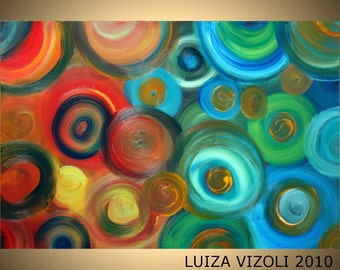 COLORFUL CIRCLES 36x24 Giclee Stretched Canvas  Modern Abstract Fantasy Artwork by Luiza Vizoli