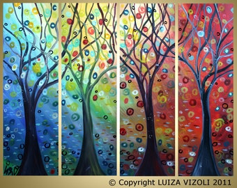 Trees and SEASONS XXL 48x36 Large Giclee Stretched Canvas Modern Abstract Landscape from Original Painting by Luiza Vizoli