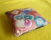 Pincushion - Japanese Garden - Sewing Needlework Patchwork Quilting Accessory - Japanese / Asian / Oriental Flowers in Pink, Black and Gold