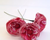 Cupcake Wrapper Paper Flowerst, Floral Arrangement, set of 3 single stems - Red, white, pink hearts