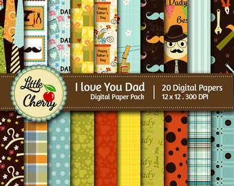 I Love You Dad- 20 printable Digital Scrapbooking papers - 12 x12 - 300 DPI