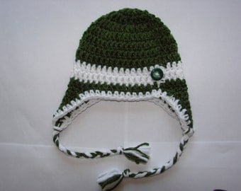 green crochet baby boy earflap hat, baby boy beanie Christmas green white colors handmaded 0-4 months photo prop