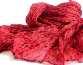 Red and Black Leopard pattern infinity woman scarf... Personalized Design...