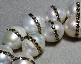 White Potato Pearls With Lavender Purple Natural Zircon Stones 11mm-12mm