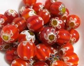 Bright Red Millefiori Round Beads- Free Beads or Charm with Order