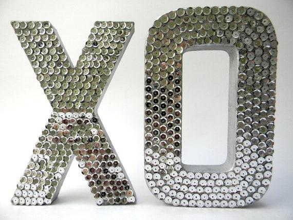 Sequin Letter : XO Silver