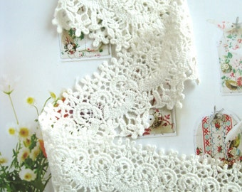 Cotton Lace Fabric Trim - Retro Off White Scallop Flower Floral Cotton Lace Fabric TRIM 1.8 Inches 1 Meter - Bree