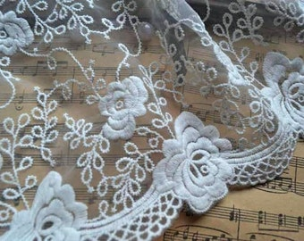 off white lace trim with roses, organza lace trim