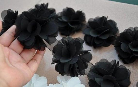 3D Lace Trim  Black Chiffon Rosette Fabric Flowers Blossom for Dress Headware Decoration Wedding Decor Doll Dress Hat Handbag Supplies