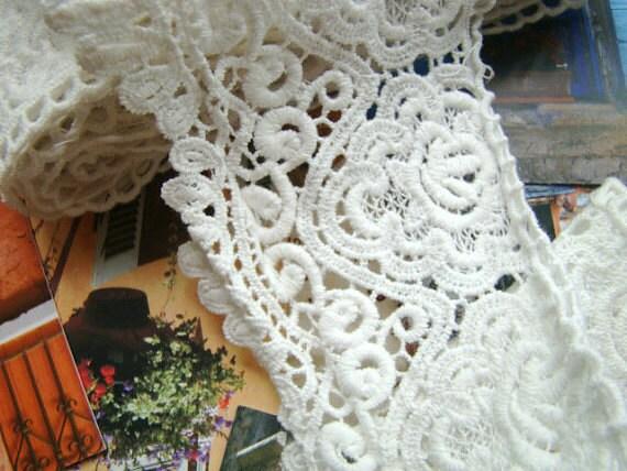White Cotton Lace Trim Retro Venice Lace Trim Embroidery Hollowed Scollap Lace Fabrics Supplies Bridal Accessories
