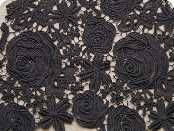 Black Lace Fabrics Crochet Qmilch Embroidered Flowers Hollowed Out Rose Florals Wedding Bridal Lace Fabrics Supplies