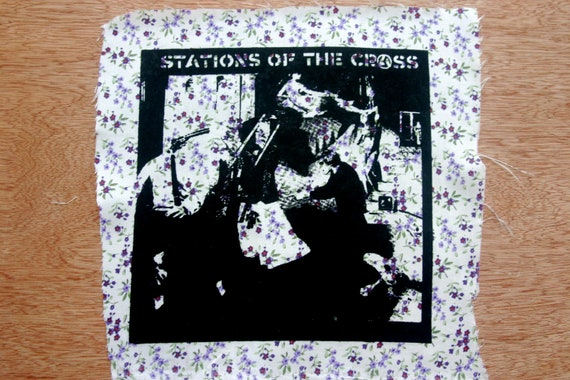 Crass Stations of the Crass Back Patch Punk Flower Fabric