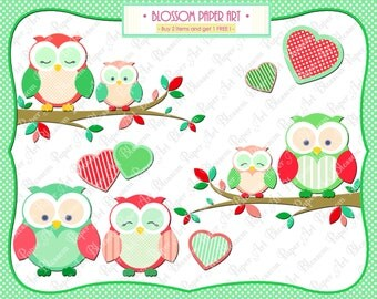 Clipart Owls - DIgital Owls PNG, Hearts - Branch - Red - Green - Printables - DIY Projects - 300 dpi - 1358