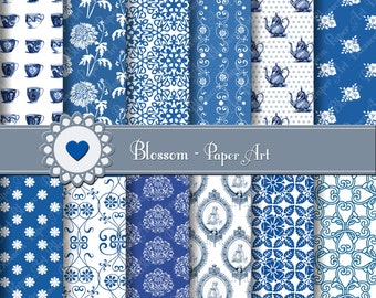 Digital Paper Blue and White Porcelain, Digital Scrapbooking Paper, Vintage Papers - DIY - Personal and Commercial Use - 1394