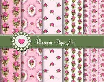Pink Digital Paper Roses Digital Paper Pack, Scrapbooking Paper, Vintage Pink Roses - Digital Papers - 1510