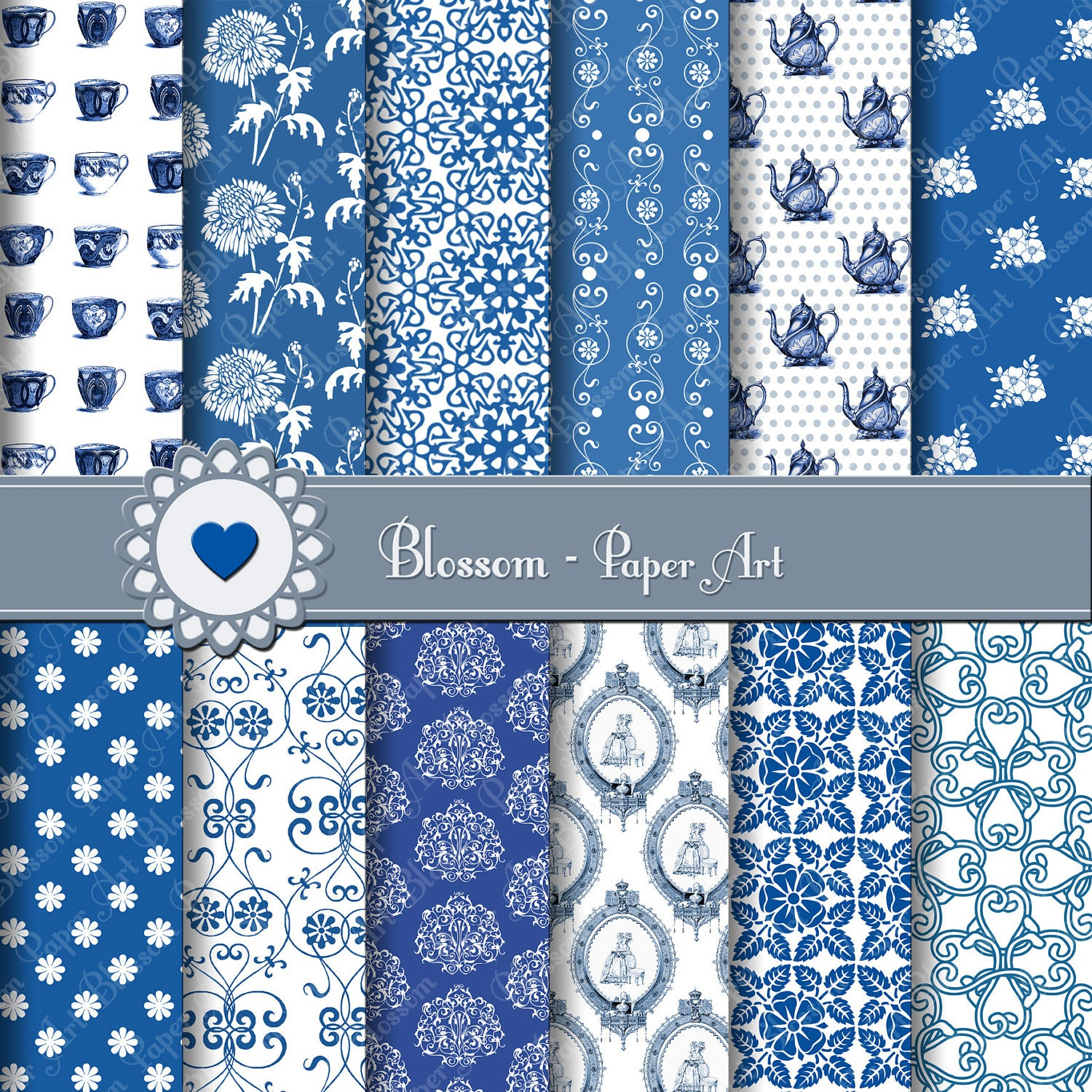 Scrapbook paper diy - Digital Paper Blue And White Porcelain Digital Scrapbooking Paper Vintage Papers Diy Personal And Commercial Use 1394
