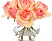 Real Touch Orange Rose & Bud Round Glass Artificial Faux Arrangement
