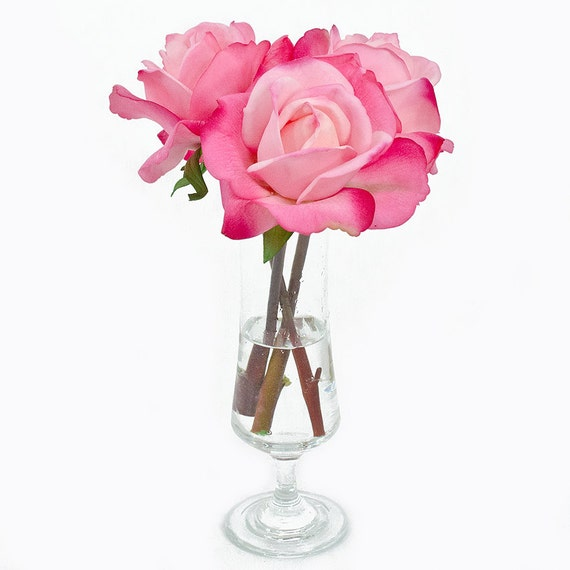 Real Touch Pink Rose Small Footed Vase