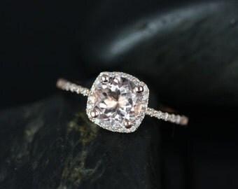 Rosados Box Barra  7mm 14kt Rose Gold Round Morganite and Diamond Cushion Halo Engagement Ring