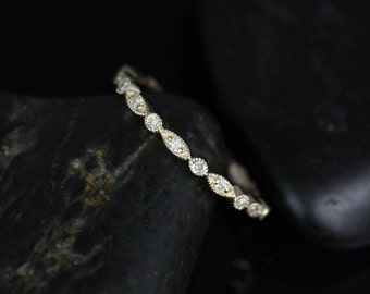 Ultra Petite Bead & Eye 14kt Yellow Gold WITH Milgrain Diamond FULL Eternity Band (Available in other metals)