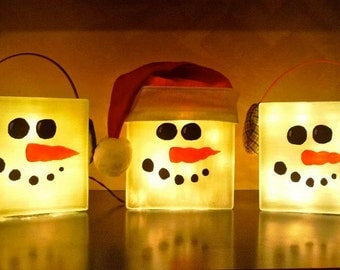 Large Lighted Snowman Glass Block Decorative Lamp For Winter