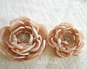 Set of 2 Bridal Hair Flower Clips in Champagne or Any Color
