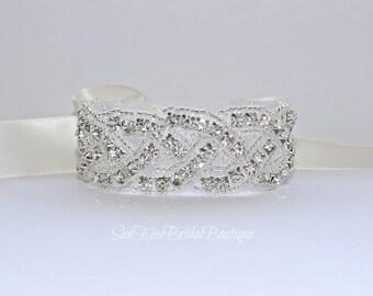 MAYA Braided Bridal Crystal Bracelet Rhinestones Beaded Bracelet,Cuff