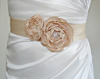 Simple Bridal Sash with Flowers and Crystals,Satin Sash in Champagne or Any Color
