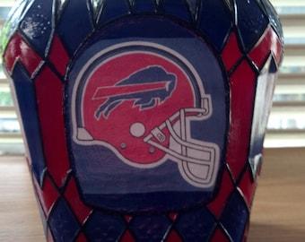 Buffalo Bill's Football Crown Royal Hand Painted Glass Bottle OOAK