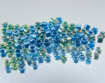 11/0 Delica Seed Beads Green Blue Lined Mix 7.2 Grams DB985 #45-113985