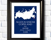 Adoption Gift / Printable / Personalized Nursery Print / Birth Announcement / Map Print / Baby Gift / Any Country or State /