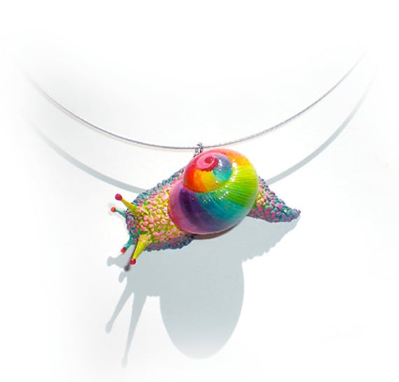 SALE  vibrant Rainbow Snail Pendant w. Necklace, real Shell