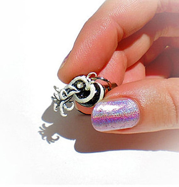 SALE , Chambered Nautilus Phone Charm, Zebra Stripes, Mini Sculpture