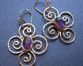 Hammered flower earrings with amethyst Victorian 191