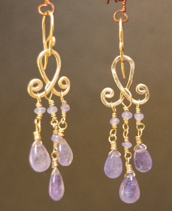 Tanzanite on hammered curled drop earrings Gypsy 78