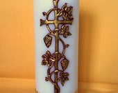 Personalized Communion Candle - Gold & Red - Cross With Grapes