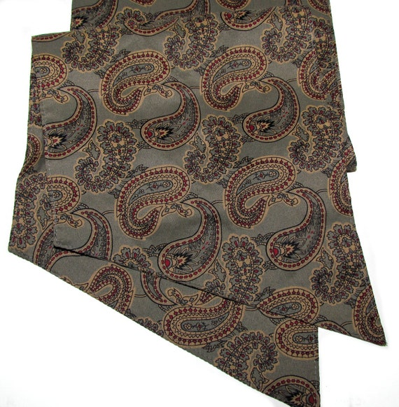 Treasury Item-- Vintage Golden Brown Paisley Long Scarf