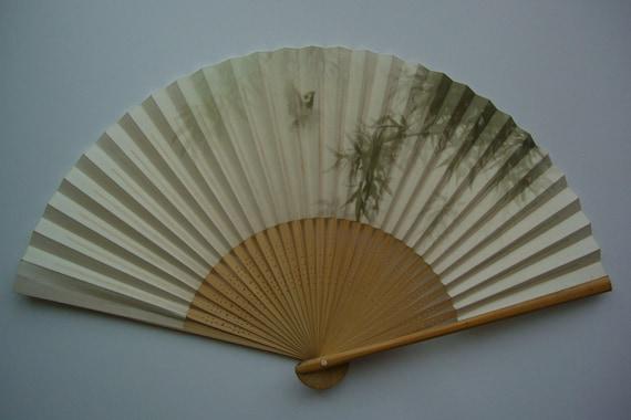 Hand fan, bamboo and paper, vintage Japanese folding fan, sensu