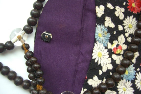 Silk pouch and Buddhist mala prayer bead set, vintage Japanese