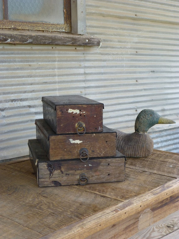 Vintage Metal and Wood Desk Boxes