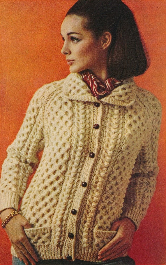 Women s Cardigan Knitting Pattern : Womens Classic Nordic Aran Cable Design Sweater Cardigan
