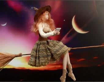 "Art doll - ""iWitch"". OOAK handmade halloween witch."