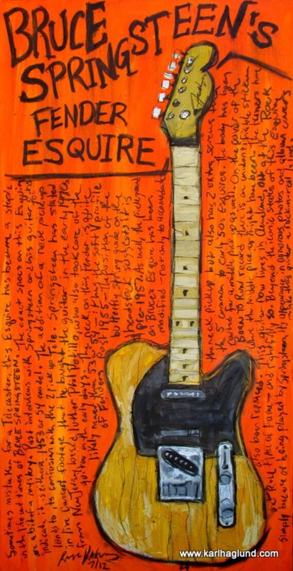 Bruce Springsteen Art. Guitar. Fender Esquire. 11x17 art print. Springsteen's Iconic Instrument.
