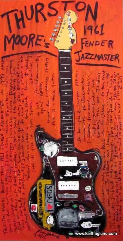 guitar poster thurston moore 1961 fender jazzmaster electric. Black Bedroom Furniture Sets. Home Design Ideas