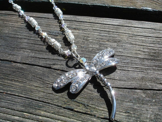 Dragonfly necklace crystal  and silver with Swarovski crystal beaded neckchain