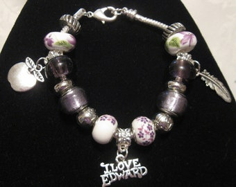 Twilight Inspired European Style Bracelet with Charms