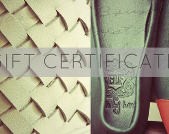 Gift certificate 40. Special Christmas gift for her. Email gift certificate. Birthday gifts / leather gifts.