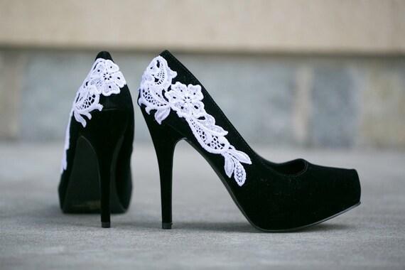 SALE - Black Heels With White Lace Applique. US Size 6