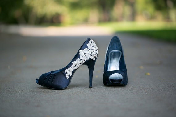 RESERVED for Ashley. Navy Blue Wedding Heels with Ivory Lace Applique. US Size 8