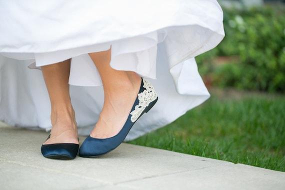 Wedding Flats Navy Blue Bridal Ballet Flats/Wedding Shoes